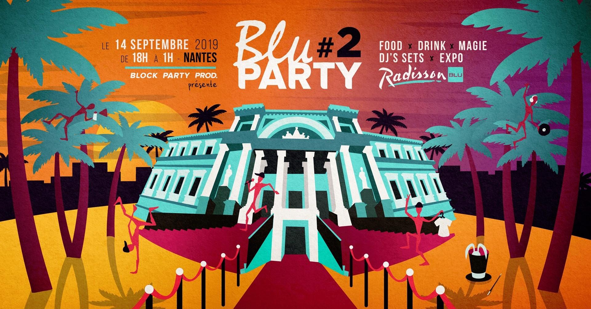Bannière illustrée faisant la promotion de la Blu Party
